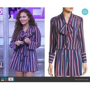 Alice + Olivia Arie Tie Neck Stripe Silk Top Med